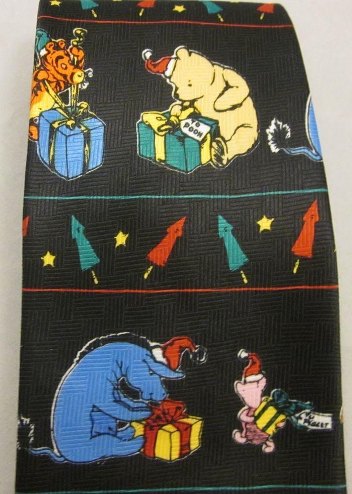 Classic Winnie Pooh Christmas Holidays Mens Tie Presents Piglet