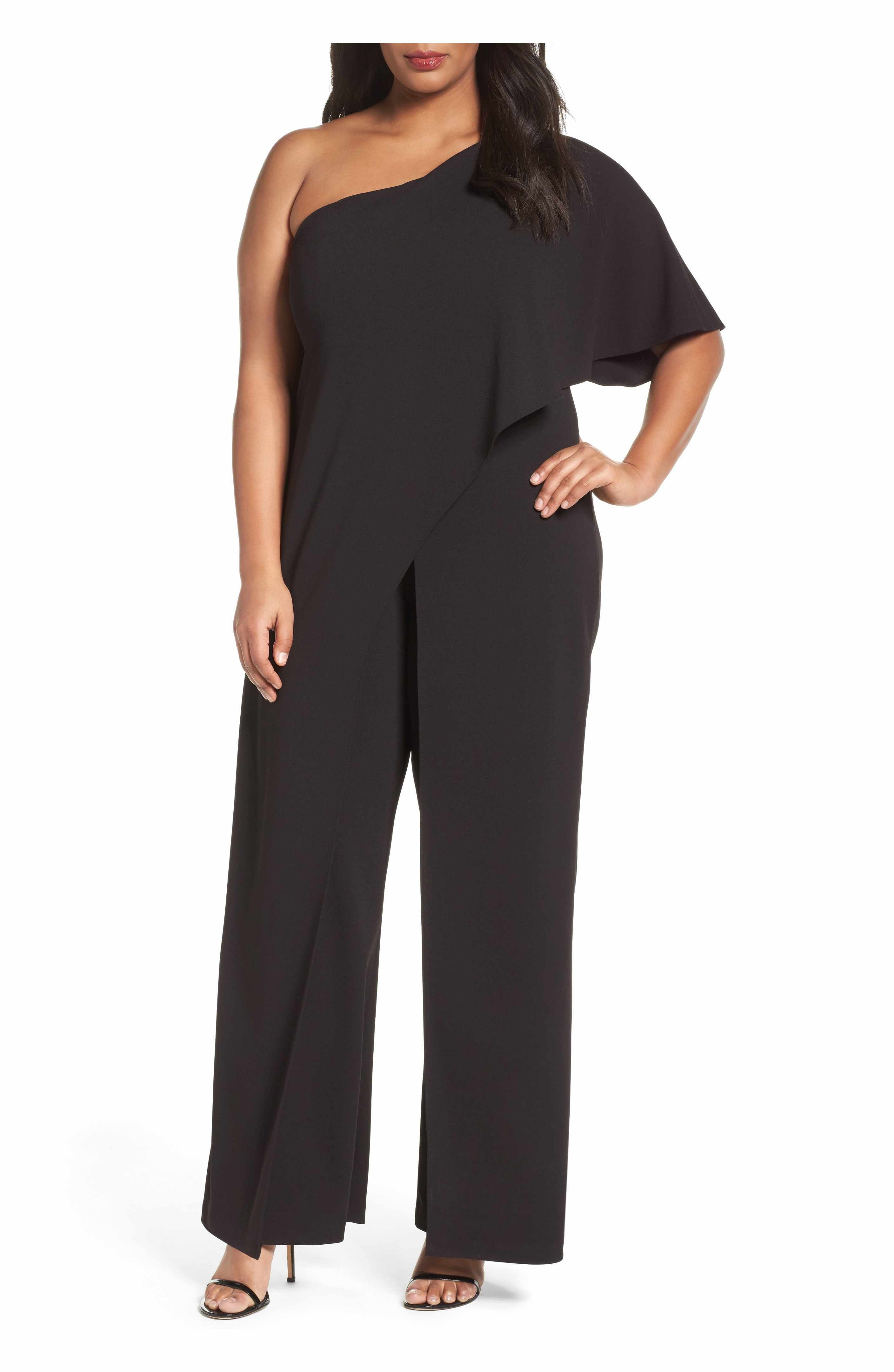 Adrianna papell oneshoulder jumpsuit plus size