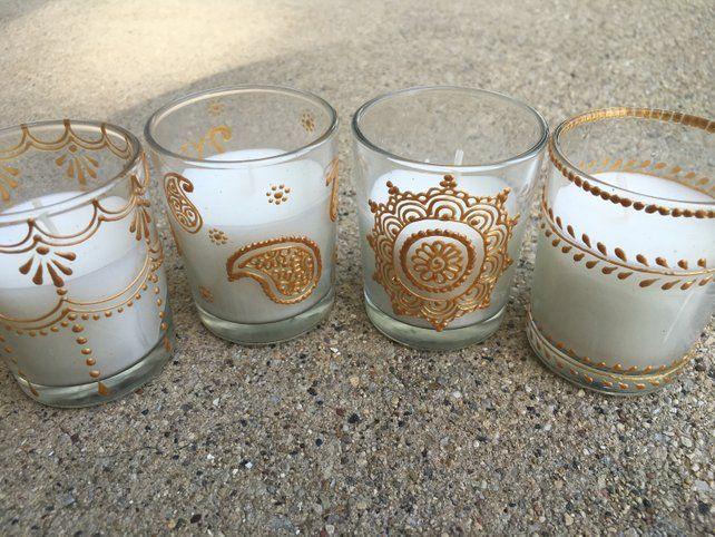 Set of 12 Handpainted Votive Candles in Gold