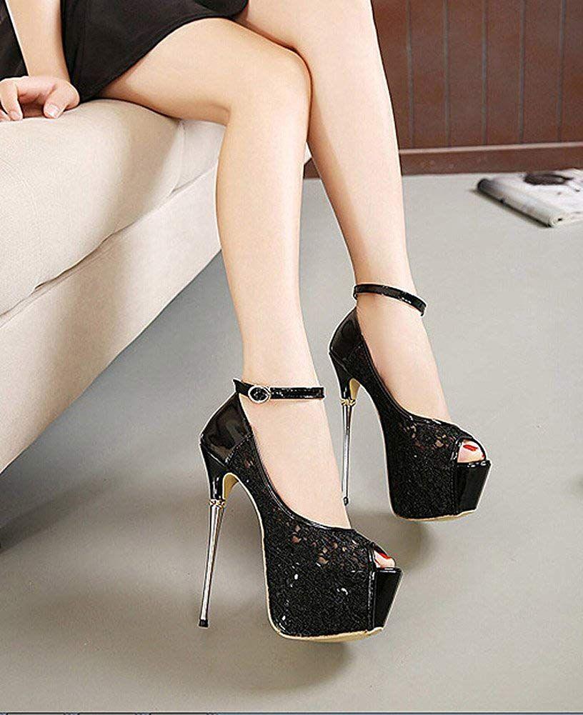 49b3a8c794b Getmorebeauty Women s Lace Flower Strappy Hollow High Heels