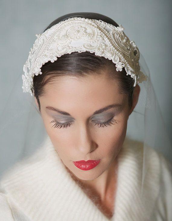 vintage lace bridal cap ivory wedding headpiece bridal cap veil with chantilly lace style 018