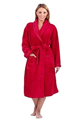 Ladies Long Fleece Dressing Gown Red Size 1618 -- Click image for ...