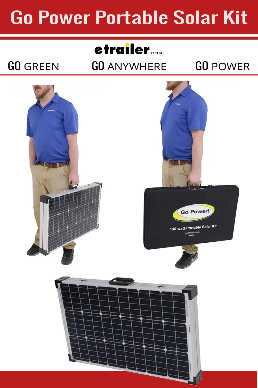 Go Power Portable Solar System With Digital Solar Controller 130 Watt Solar Panel Go Power Rv Sola Solar Kit Rv Solar Panels Solar