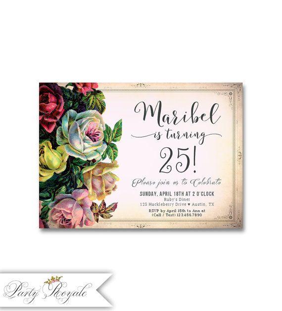 Elegant Birthday Invitations For Women 25th Birthday Party