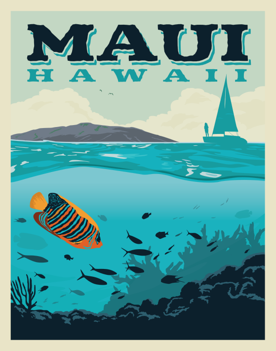 Maui Hawaii Vintage Style Travel Poster Hawaii Wall Art Retro Travel Poster Picture Collage Wall
