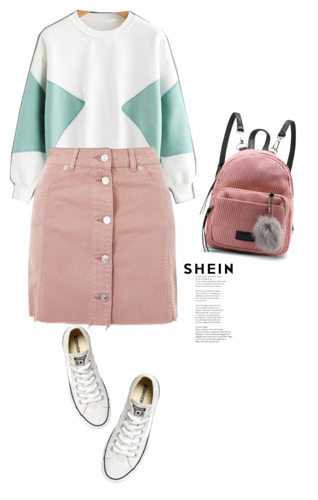 """Back to school style:  Color Block Sweatshirt"" by mycherryblossom ❤ liked on Polyvore featuring Topshop, Converse, BackToSchool, Sweatshirt, polyvoreeditorial and shein"
