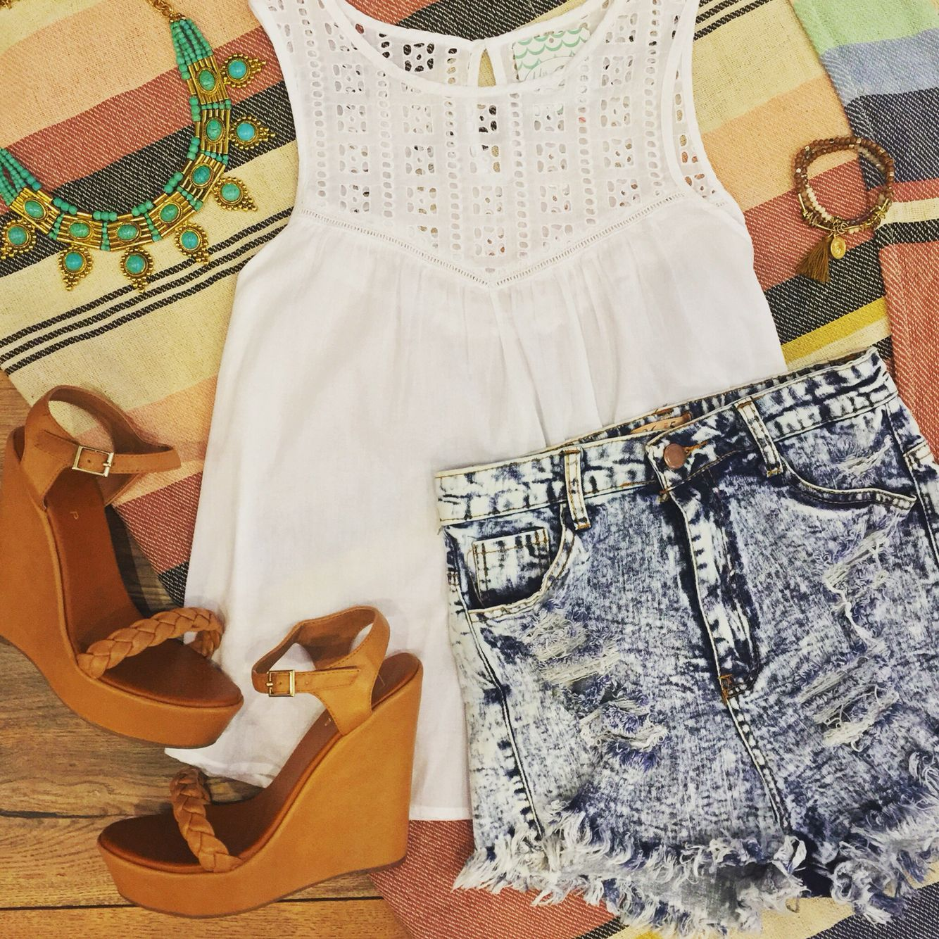 Spring break READY  Eyelet White Tank ($24.99 #4thandocean) High Waisted Fray Acid Shorts ($24.99 #sophieandtrey) Cairo Bib Necklace ($29.99 #statements) Braided Wedges Tan ($34.99 #statements) Don't forget to check out our V-Day Collection! Score 10% OFF these items  in store and online using code HEART10  Stores are open today from 10-8p! Come shop with us or check out what's new online at sophieandtrey.com with F R E E shipping on all orders! XO #valentines #valentine #vday #sale…