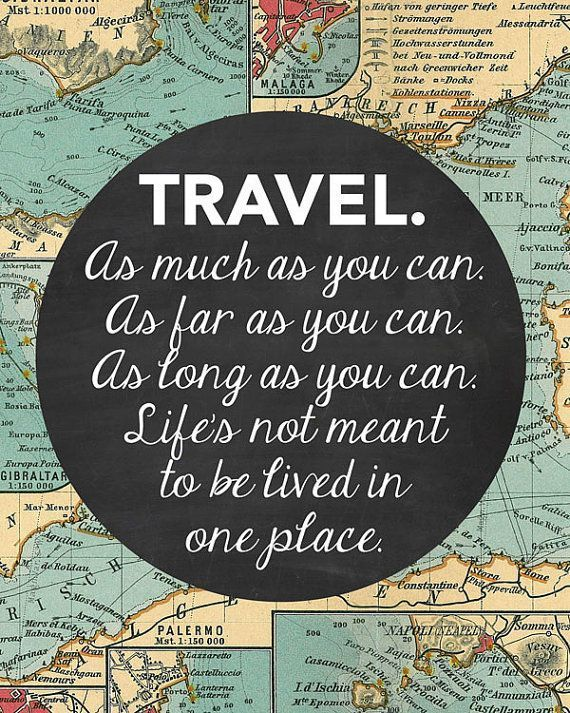 Photo of Travel Quote Art, Wanderlust Print Map, Travel Decor, Home Decor Map Print, Vintage Map…