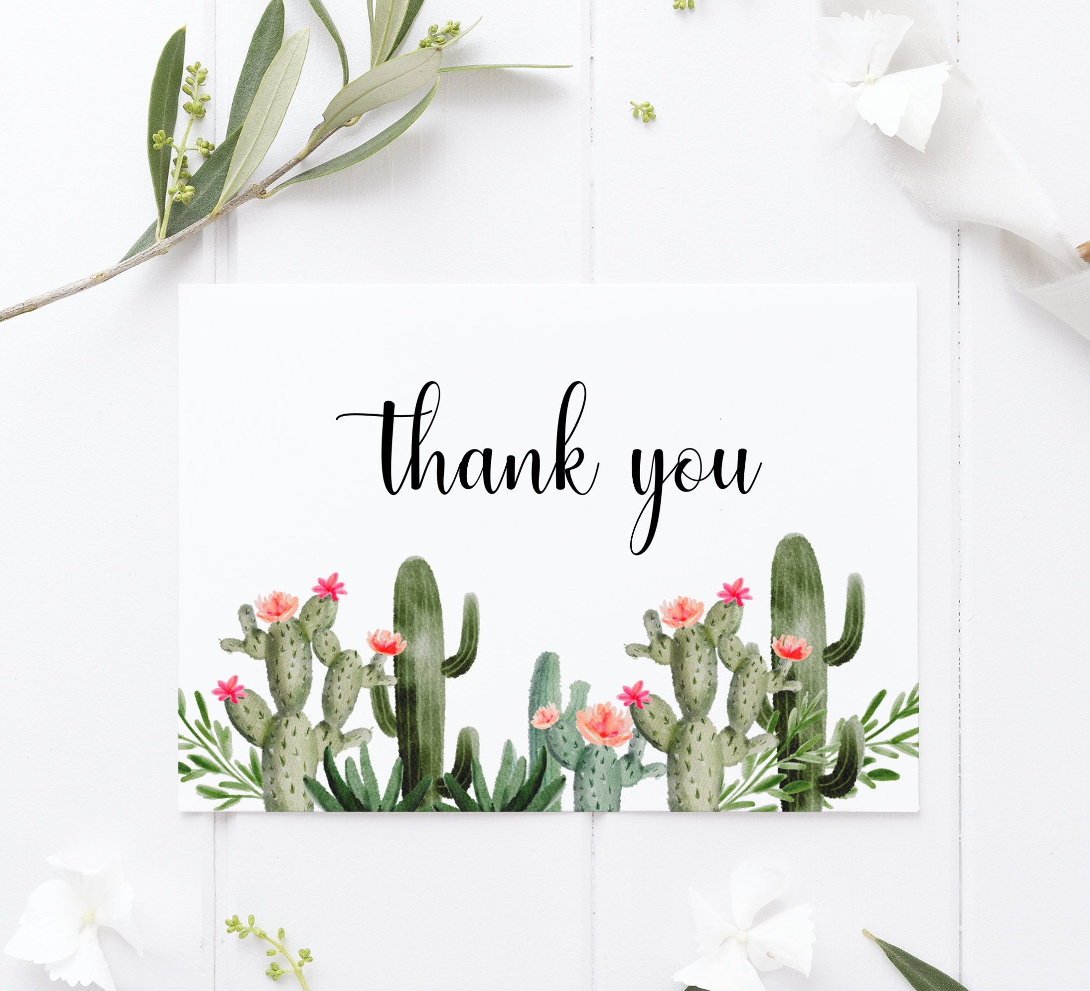 Cactus Thank You Cards Template Printable Folded Thank You