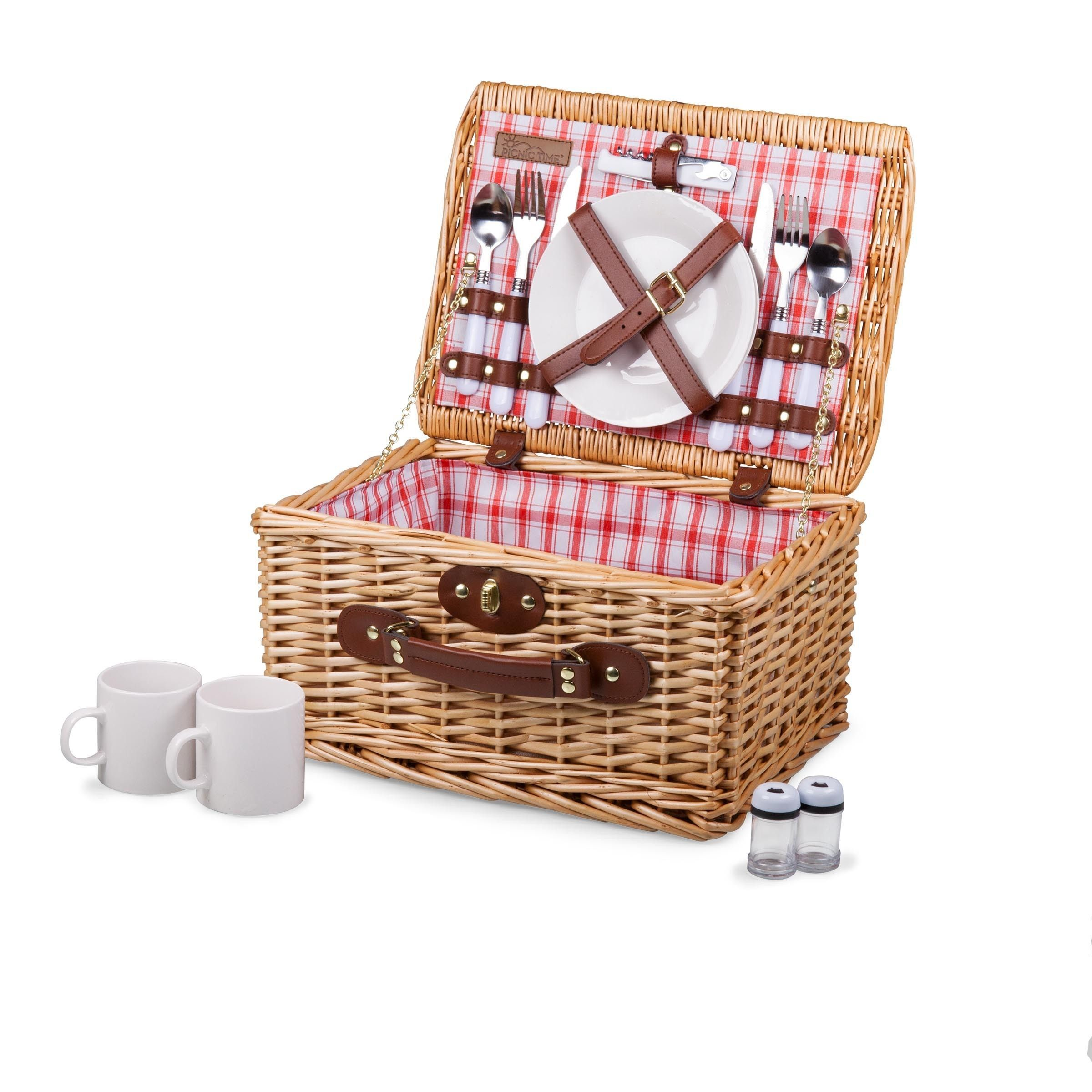 Picnic Time Catalina Picnic Basket Red and White Plaid Brown