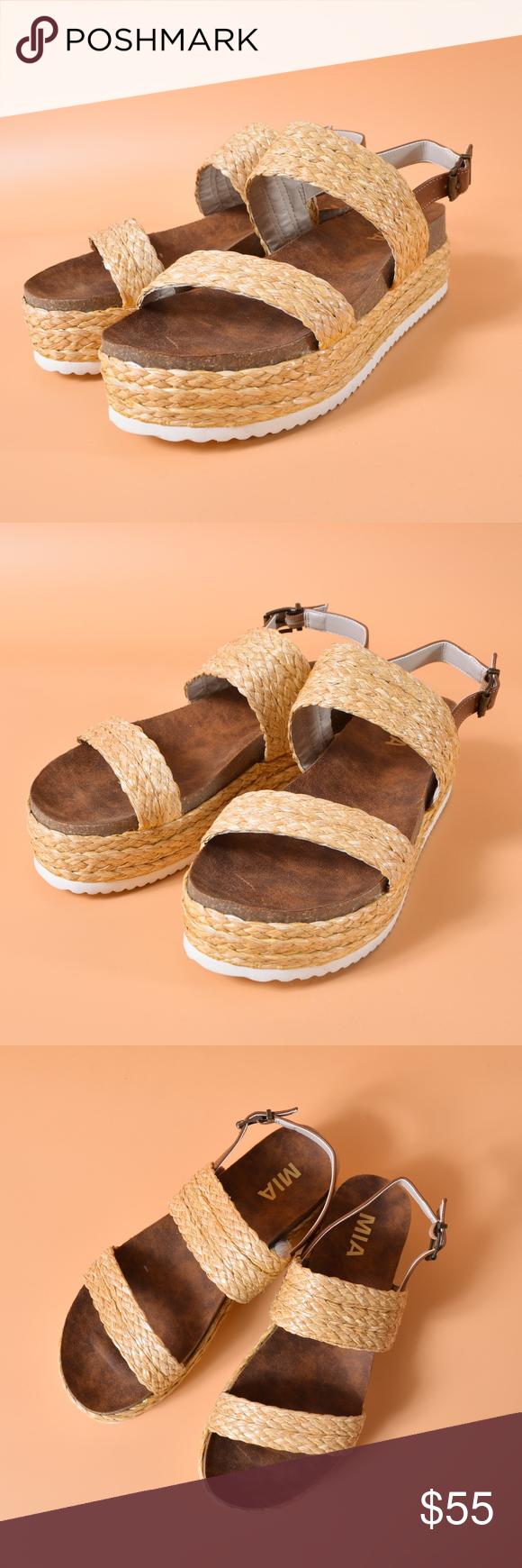 be42978c94f MIA Ava Raffia Platform Sandal New with out tag. raffia-wrapped toe strap -