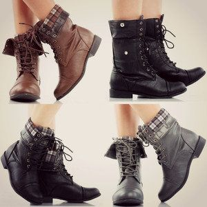 Grey Fold Over Combat Boots - Boot 2017