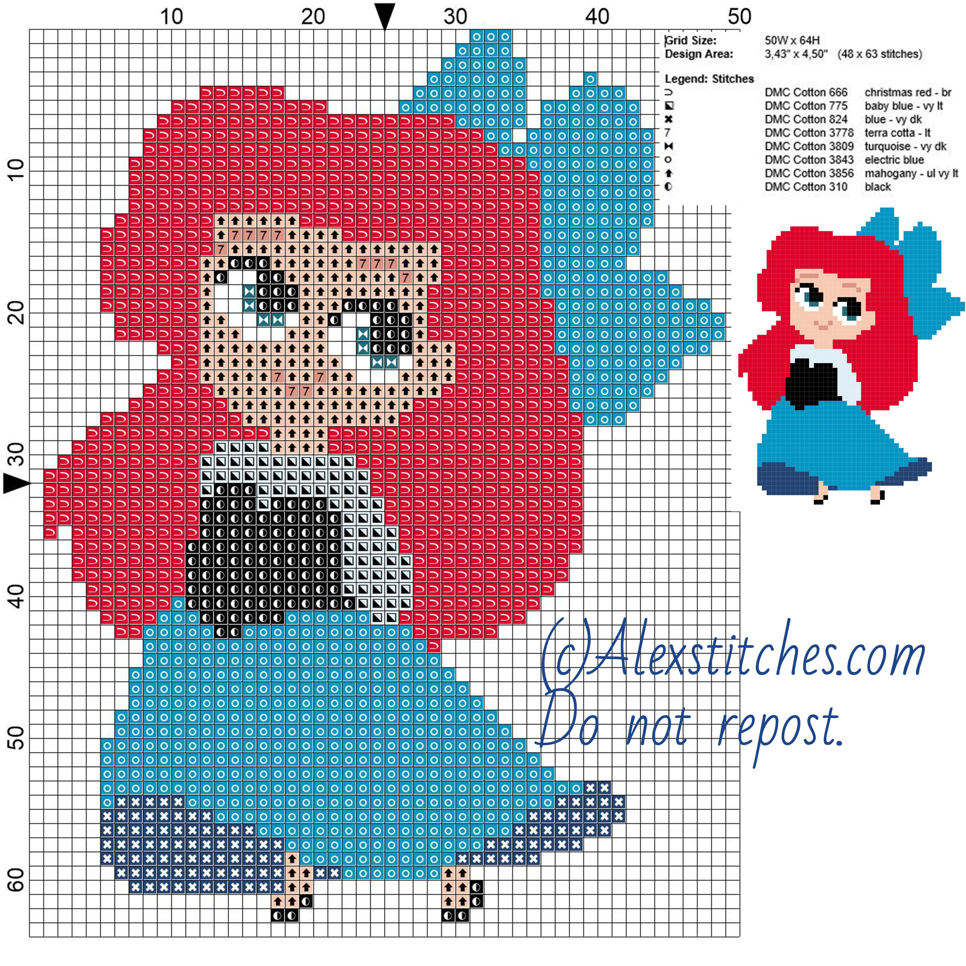 Little chibi Ariel 2 Disney princess free cross stitch pattern 50x64 ...