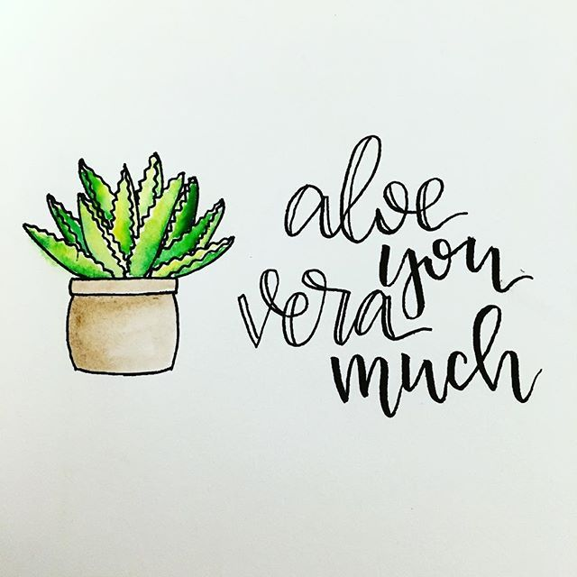 Aloe you vera much watercolor painting handlettering
