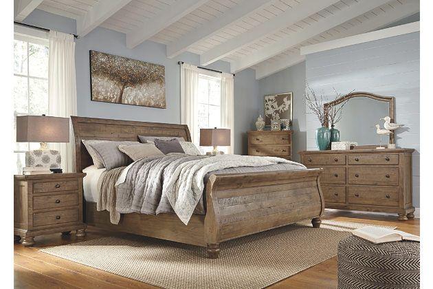 Trishley Light Brown Bedroom Furniture Set Brown Furniture