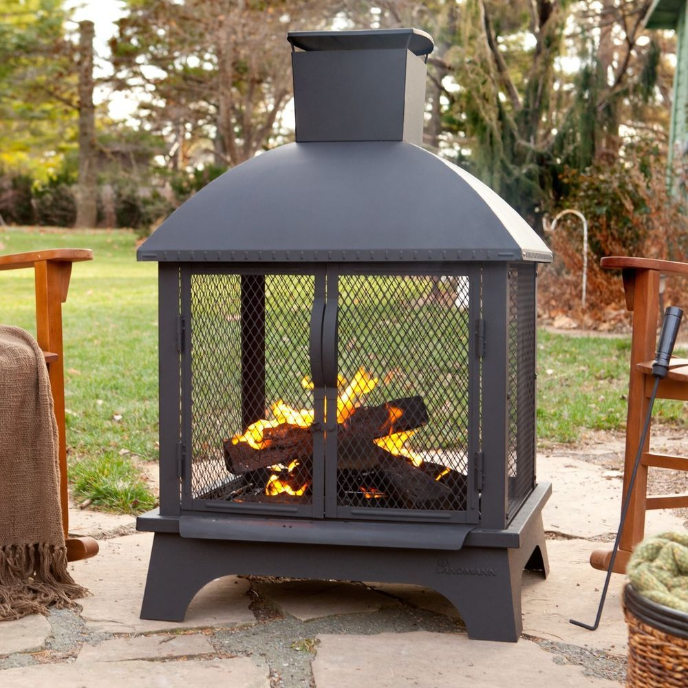 Outdoor Patio Fireplace Wood Burning Fire Pit Chimney Deck Backyard Metal Heater Outdoorpati Wood Burning Fire Pit Outdoor Fireplace Designs Fire Pit Backyard