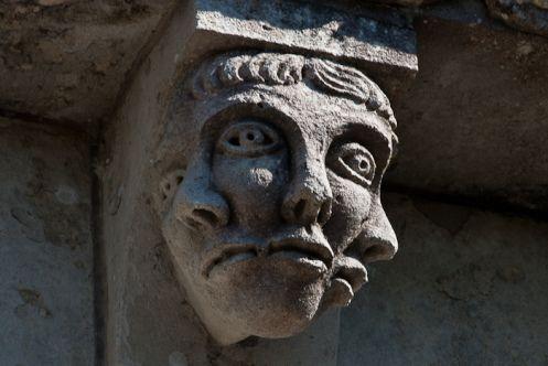 Triple visage, Prieuré Sainte Gemme, Sainte Gemme (Charente-Maritime) Photo by Dennis Aubrey
