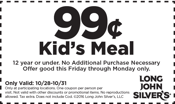 Pinned October 29th 99 Cent Kids Meal At LongJohnSilvers TheCouponsApp