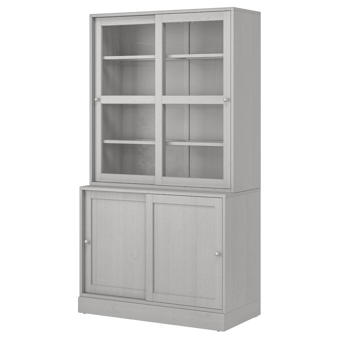 Ikea Ante Vetro Billy.Havsta Combinaz Ante A Vetro Scorrevoli Grigio 121x47x212 Cm In