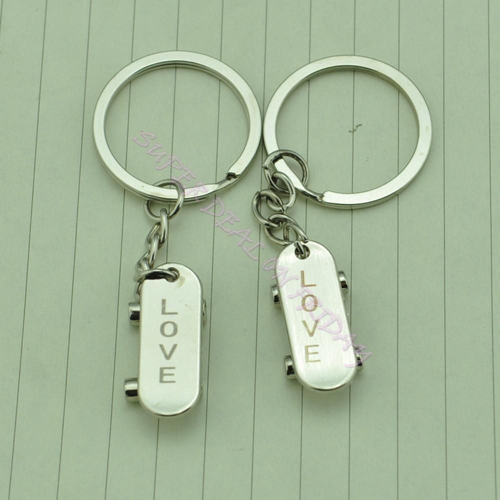 Lovely Skateboard Love Forever Key Chain Keyring Keyfob Lover Couple Gift Ring