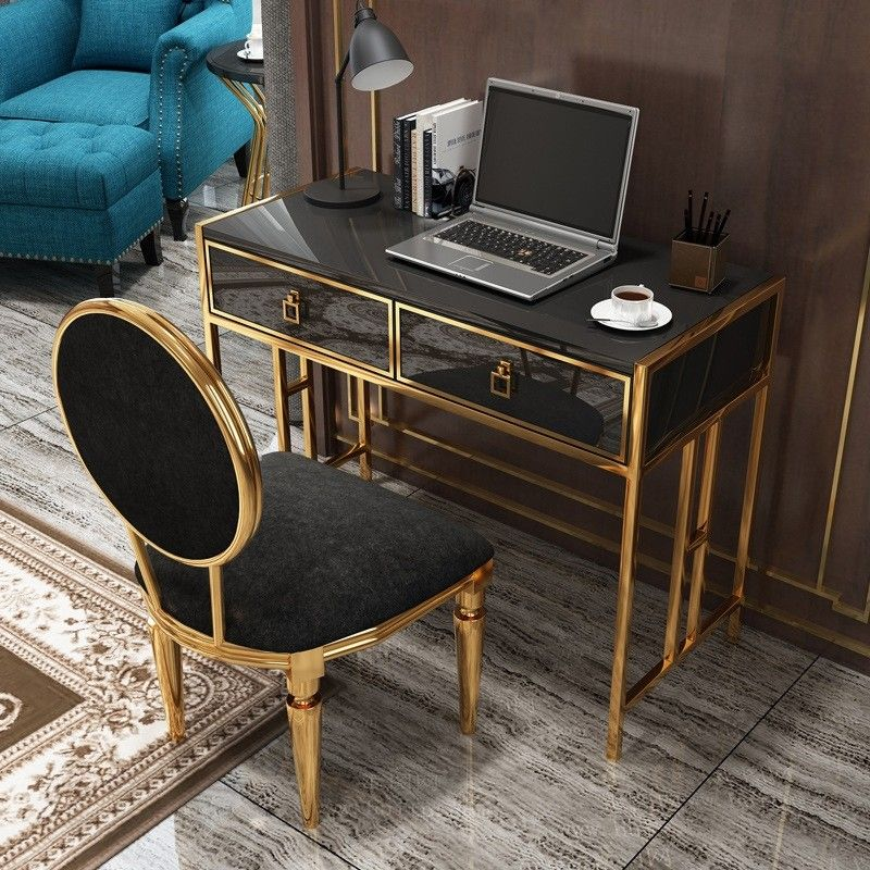 439 99 Modern Office Writing Desk Stylish Rectangle Computer Desk With Drawers Glass Top Gold Metal Glass Desk Office Stylish Desk Desk With Drawers