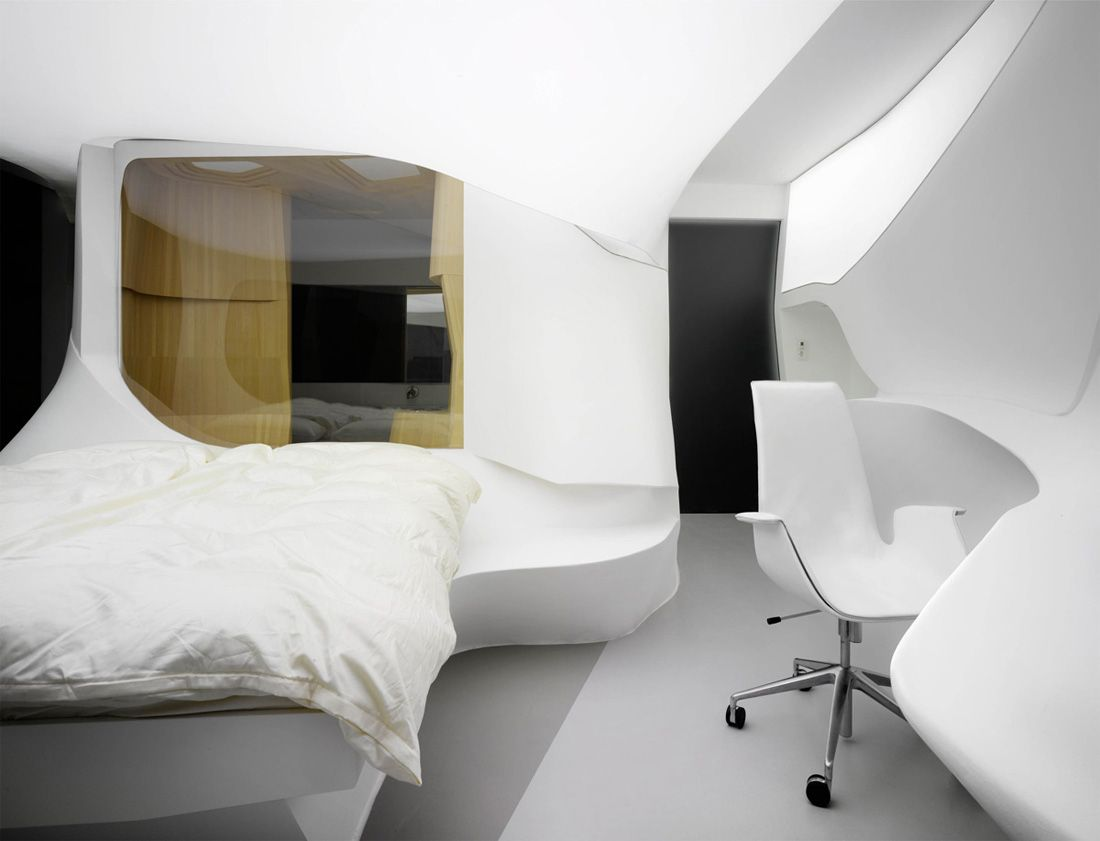 Future hotel showcase lava minimalist bedroom room for Minimalist hotel design