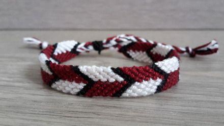 acheter en ligne 08267 a1d58 Bracelet brésilien EN V prune, blanc et noir | Do it now ...