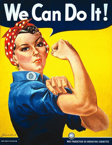"""""""We Can Do It!"""" is an American wartime propaganda poster produced by J. Howard Miller in 1942 for Westinghouse Electric as an inspirational image to boost worker morale. The model for the poster is generally thought to be a black-and-white wire service photograph taken of a Michigan factory worker named Geraldine Hoff."""
