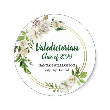 Valedictorian white floral personalized graduation classic round sticker valedictorian and round stickers