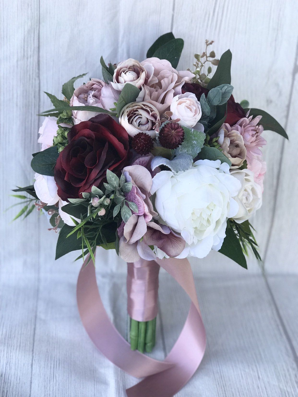 Dusty Rose Bouquet Blush And Dusty Pink Bouquet Mauve And Etsy In 2020 Rose Bridal Bouquet Burgundy Bouquet Pink Bouquet