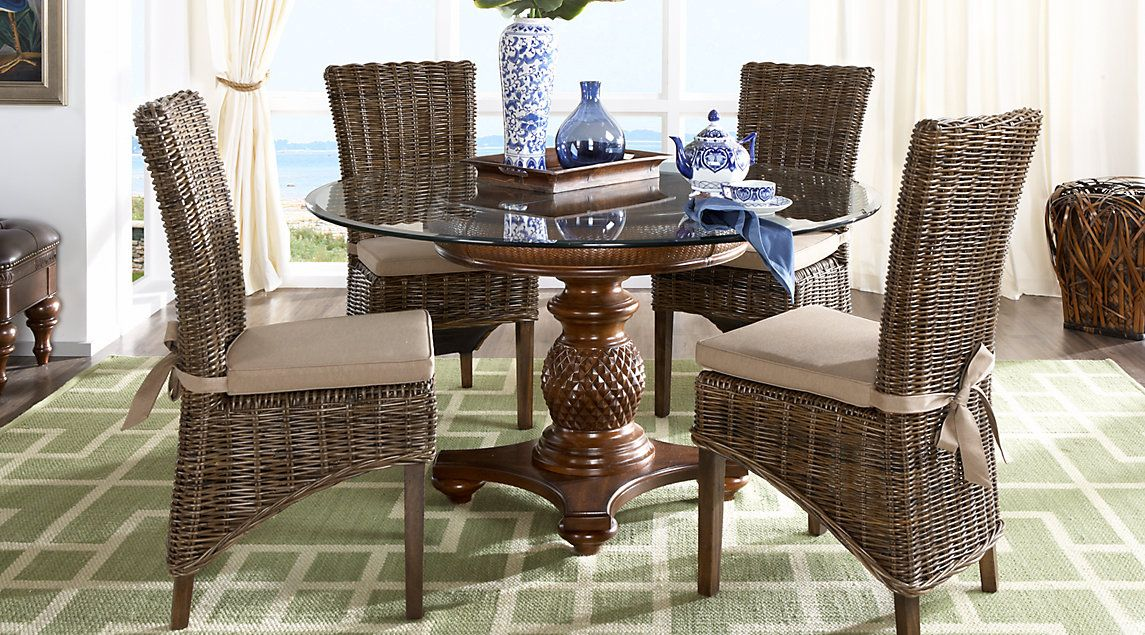 Cindy Crawford Home Key West Tobacco 5 Pc Round Dining Room with Rattan Chairs