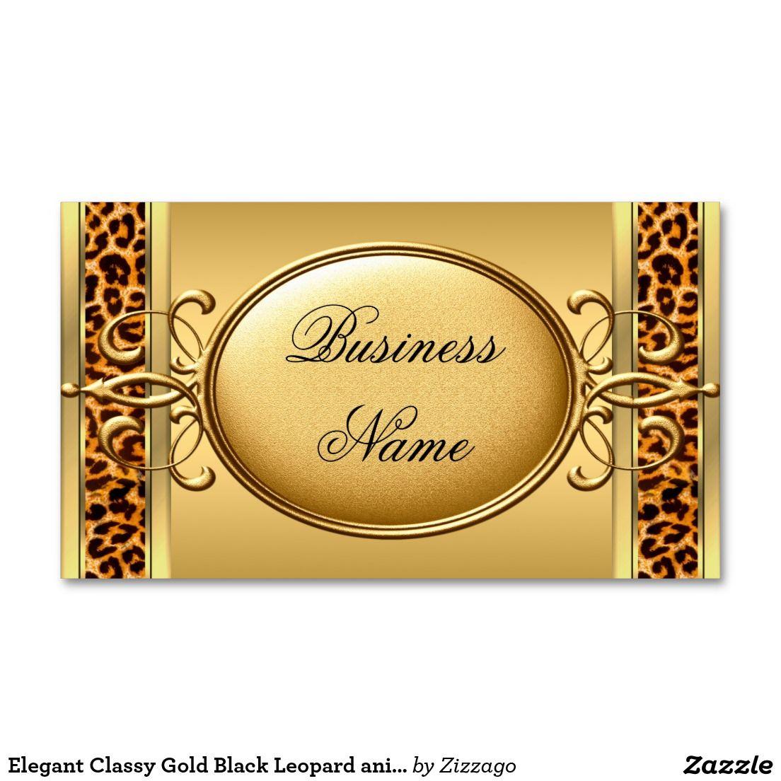 Elegant Classy Gold Black Leopard animal print 2 Business Card ...