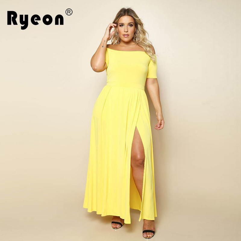 Ryeon Maxi Dress Off Shoulder Party Dress Women Plus Size Tunic Black  Yellow Red Blue Long 59bb924c8388