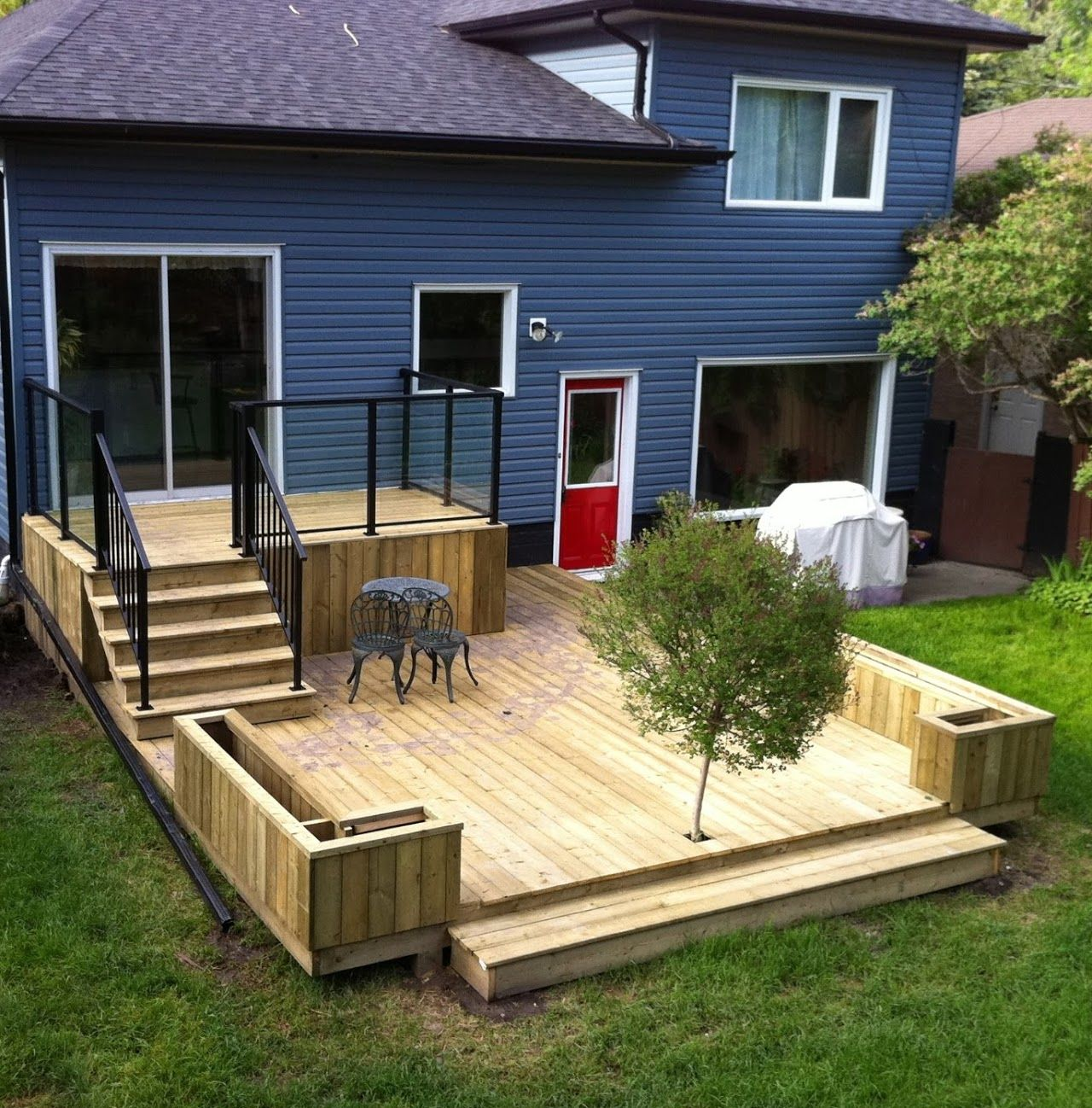 Diy Deck Plans Step By Step Small Deck Plans: Back Steps- Have The Small Porch But Then A Brick Patio