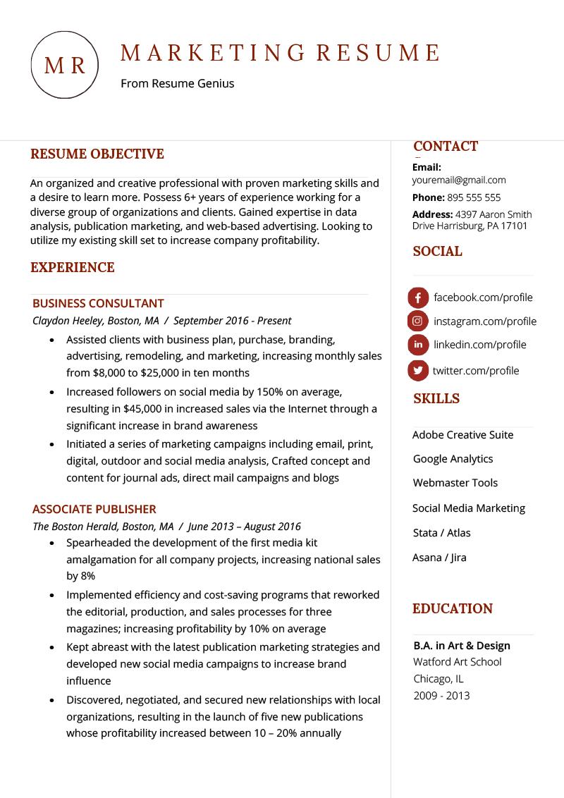Marketing Resume Sample Writing Tips Resume Genius Marketing Resume Professional Resume Examples Resume Skills