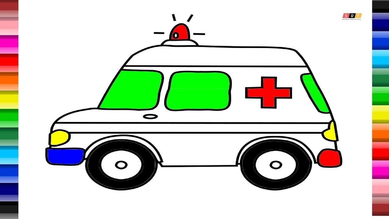 Toy Ambulance Drawing and Coloring | How to Draw Ambulance for Kids ...