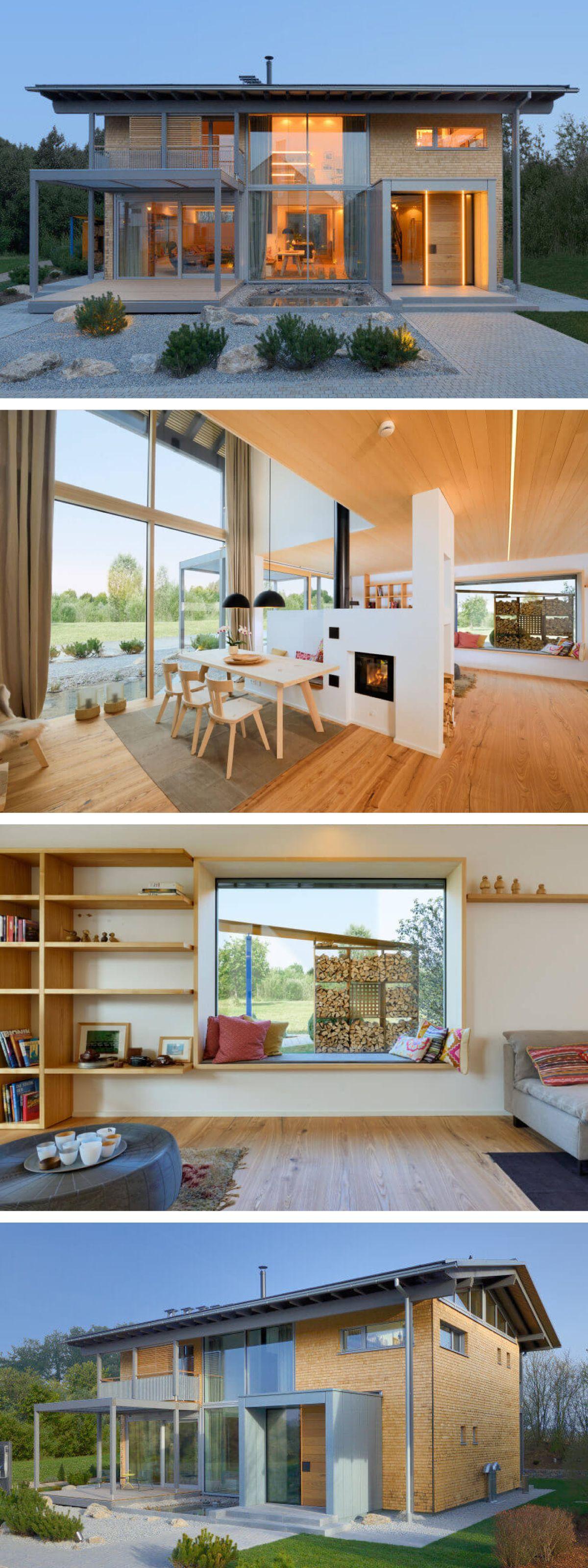 holzhaus modern im alpenstil mit galerie und satteldach architektur interior design haus. Black Bedroom Furniture Sets. Home Design Ideas