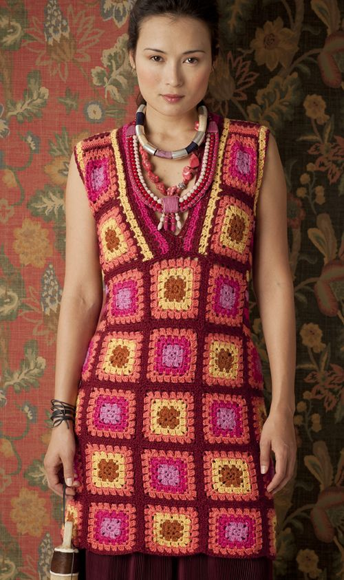 Granny Square Dress ~ would be easy to add sleeves. One less row of ...