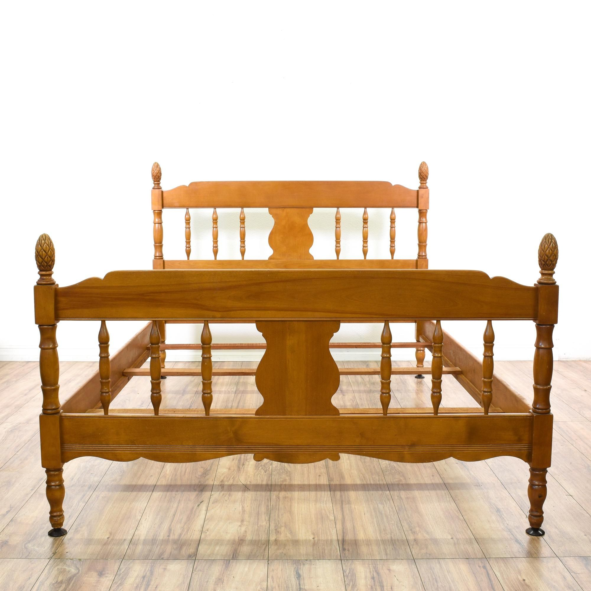 This Full Sized Bed Is Featured In A Solid Wood With A Glossy Maple Finish.  This Country Chic Style Bedframe Has Pine Cone Finials, Scalloped Trim, ...