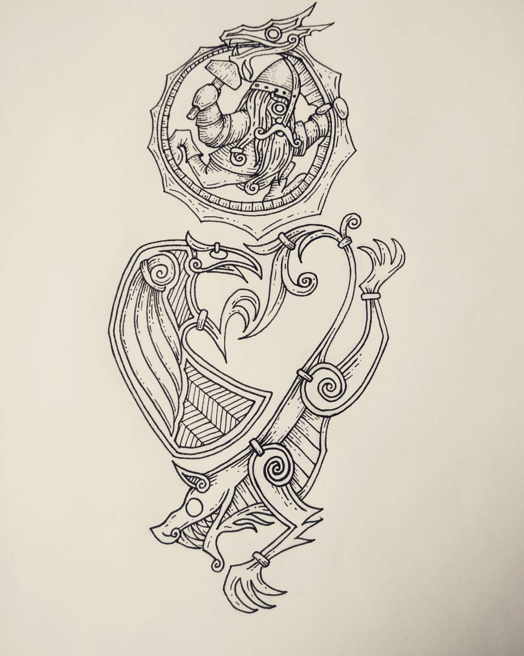 A half sleeve tattoo design with a Norse mythology theme