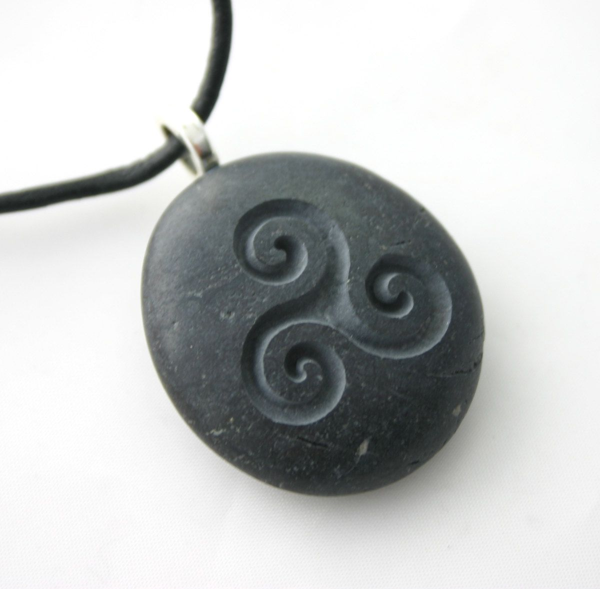Triple Spiral Engraved Stone Female Power Celtic Symbol Grey Stone