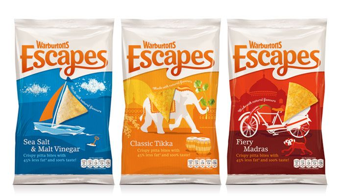 Новый суб-бренд Escapes для производителя снеков Warburtons. Компания известна тем, что выпускает необычные снеки – пшеничные лепешки пита с полым кармашком внутри. Новый суб-бренд Escapes (пер.: побег) передает идею «Счастливого приключения», дает потребителю возможность «сбежать» от каждодневной рутины, а также от традиционных картофельных чипсов и попкорна. Дизайн передает идею путешествия через разные континенты.