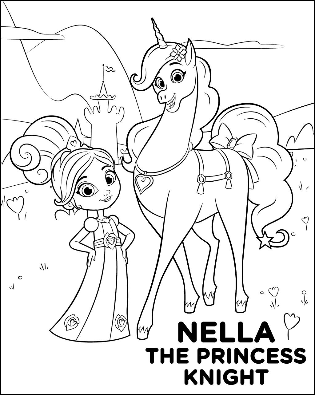 Nella The Princess Knight Coloring Sheet Nella The Princess
