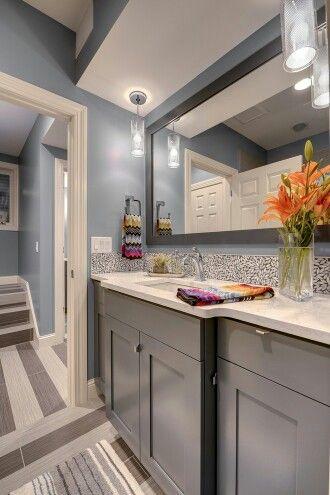Grey Vanity Blue Walls Grey Blue Kitchen Dark Grey Kitchen Cabinets Kitchen Colors
