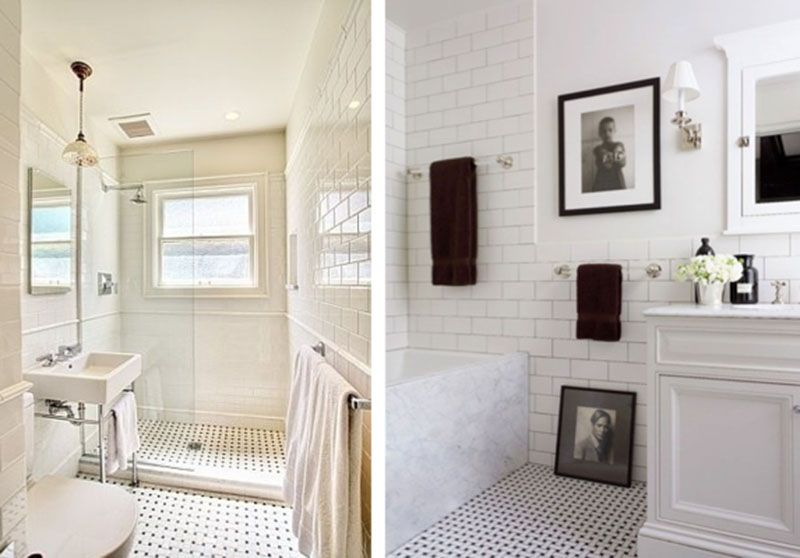 bathroom white bevelled brick tiles and a walk in shower  bath