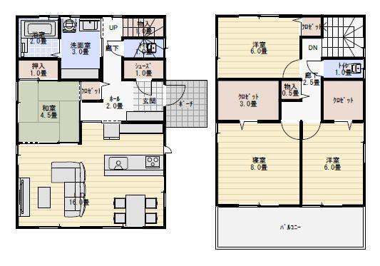 33坪4ldk和室がリビングにオープンな間取り 間取り 35坪 間取り