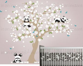 Cherry Blossom muur sticker met Panda en van InAnInstantArt op Etsy