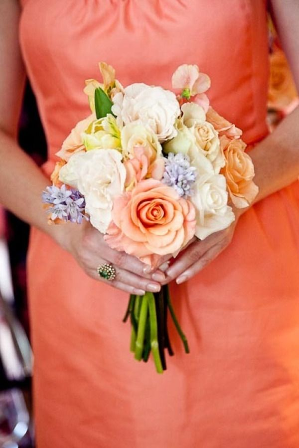 Melon/Coral Dresses and coordinating flowers-- possibly for Katie's wedding