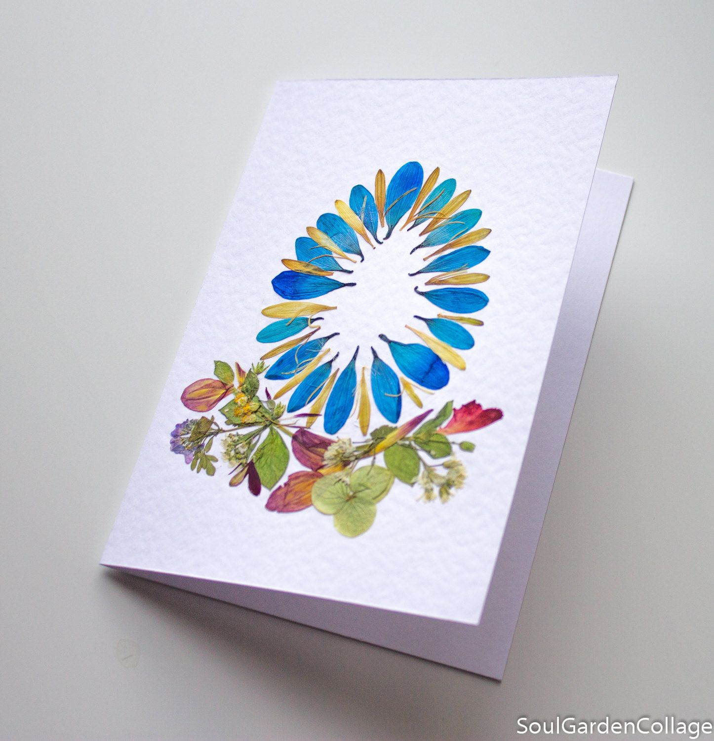 Unique Handmade Ooak Easter Greeting Card Soulgardencollage Dried