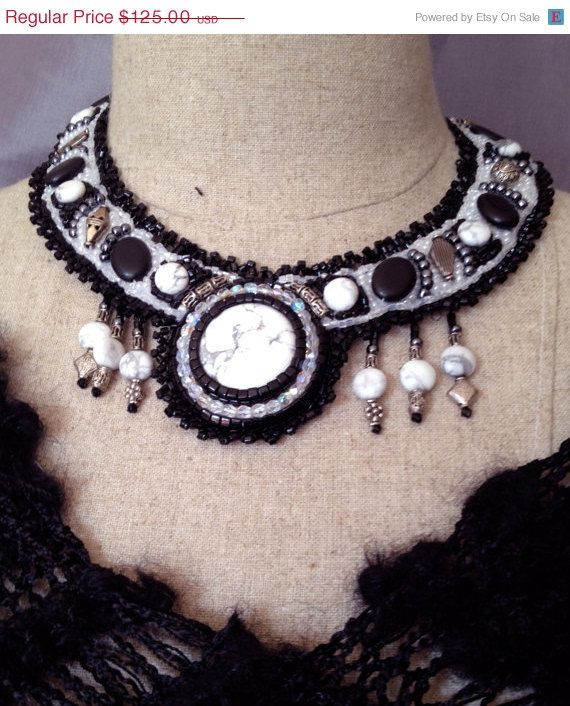 ON SALE Embroidered Necklace  Black and White by bjswearableart, $75.00